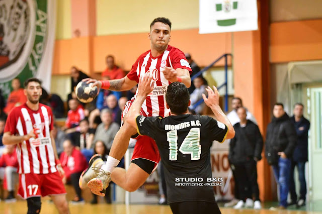 Ήττα του Διομήδη Άργους από τον Ολυμπιακό στην πρώτη αγωνιστική της Handball Premier