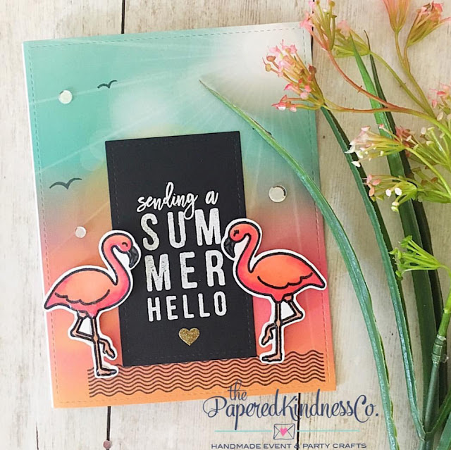 Sunny Studio Stamps: Tropical Paradise Flamingo Card by Jessica McAfee