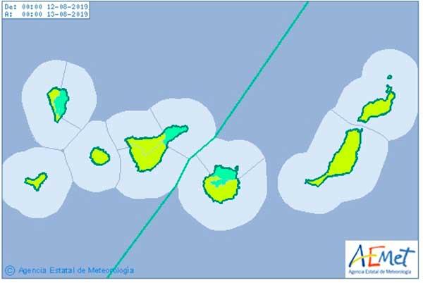 Aviso amarillo por viento en Canarias, lunes 12 agosto