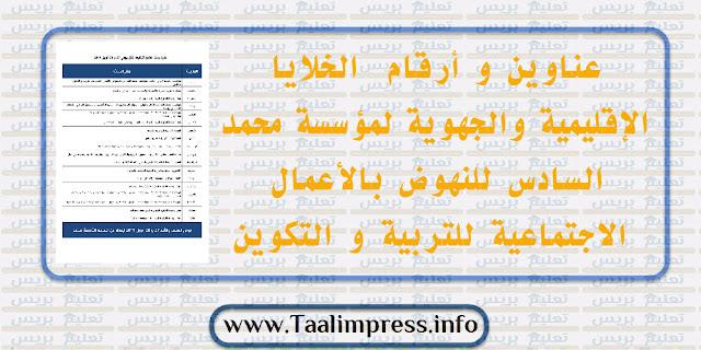 عناوين و أرقام  الخلايا الإقليمية والجهوية لمؤسسة محمد السادس للنهوض بالأعمال الاجتماعية للتربية و التكوين