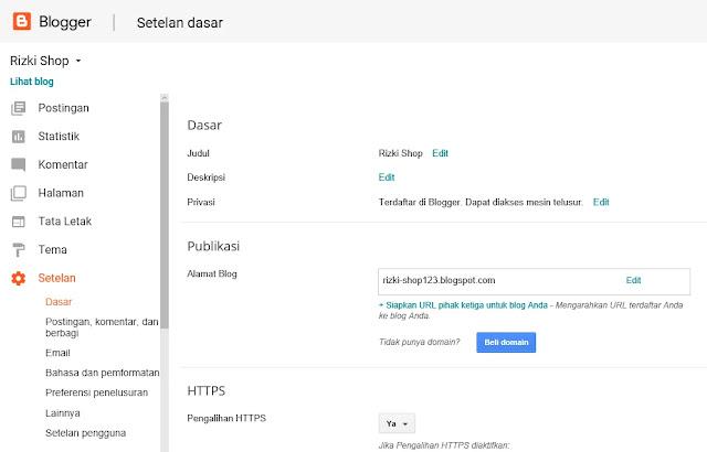 Cara melakukan pengaturan komentar, email, seo, google analytics pada blogspot Blogger
