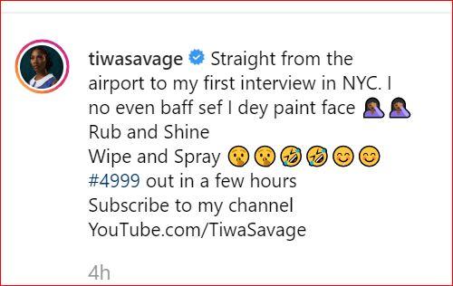 Stella Dimoko Korkus com: Musician Tiwa SavageArrives New