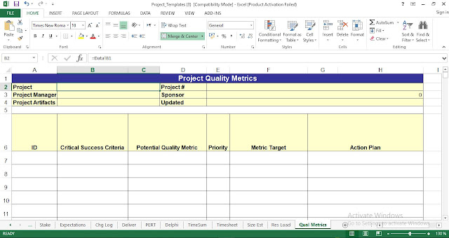 Quality Metrics Project Management Template