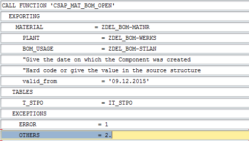 Sap Abap Central Bill Of Material Bom Components