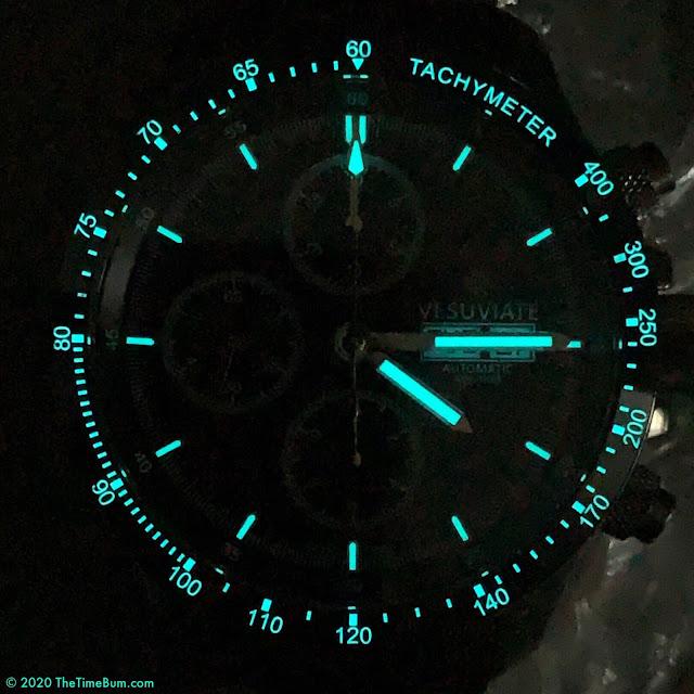 Vesuviate Automatic Chronograph lume