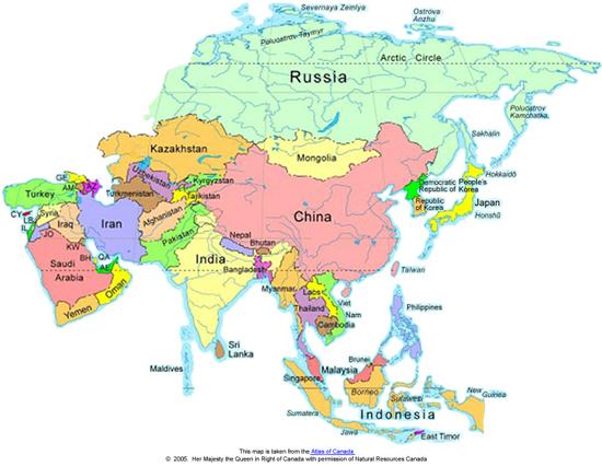 Cartina Asia Fisica.Scuolatest Verifica Sull Asia