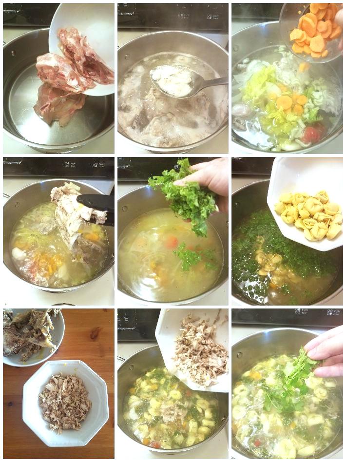 Cómo hacer sopa de pollo con tortellinis, collage de 9 fotos paso a paso