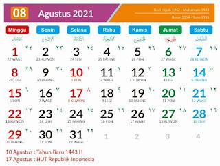 Tanggal jawa agustus 2021