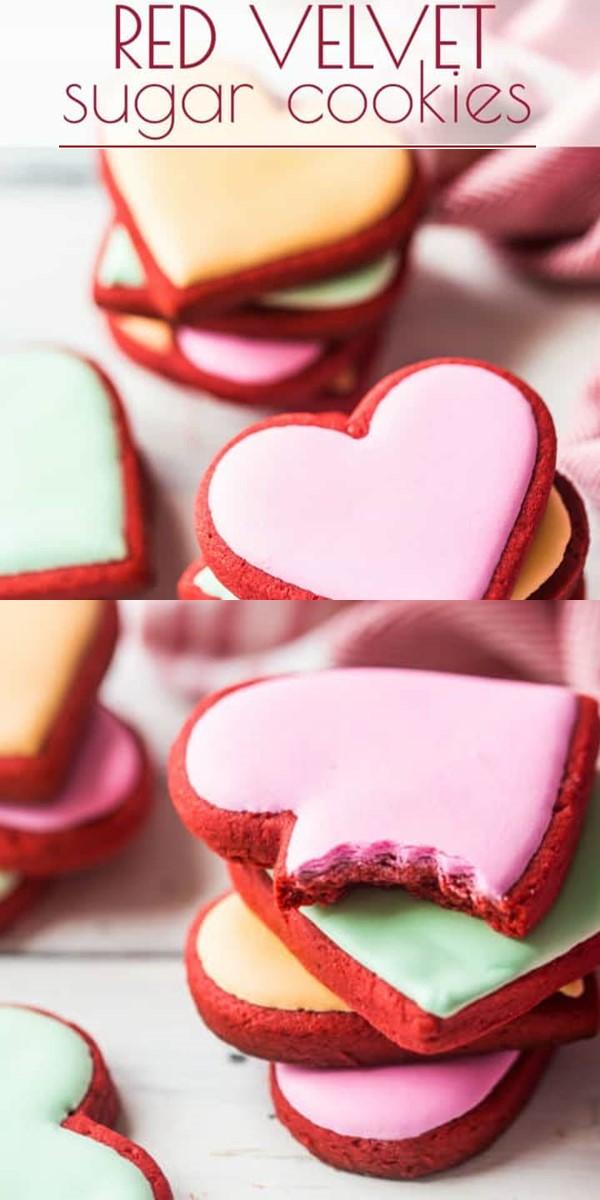 Red Velvet Sugar Cookies #cookiesrecipes