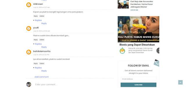 Plukme Kembali Online kabar dari komentar blog