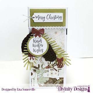 Stamp/Die Duos: Deer Ornament (sentiments/large bow), Custom Dies: Treat Tower, Circles, Pierced Circles, Pinecones & Pine Branches, Mini Lights & Ornaments, Christmas Door Greenery (small bow), Treat Tags, Paper Collection: Retro Christmas