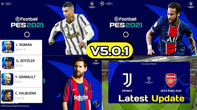 PES 2021 Mobile Patch V5.0.1 Android Best Graphics New Menu Full Original Logo and Kits 21 Update