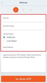 cara daftar & aktivasi bni mobile banking - isi data user id dan nomor kartu debit