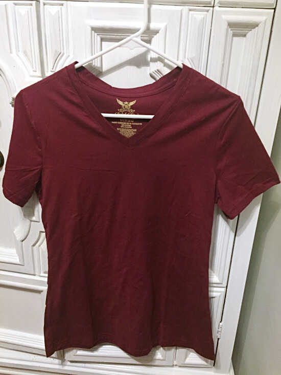 Walmart Faded Glory Wine V-neck Tee
