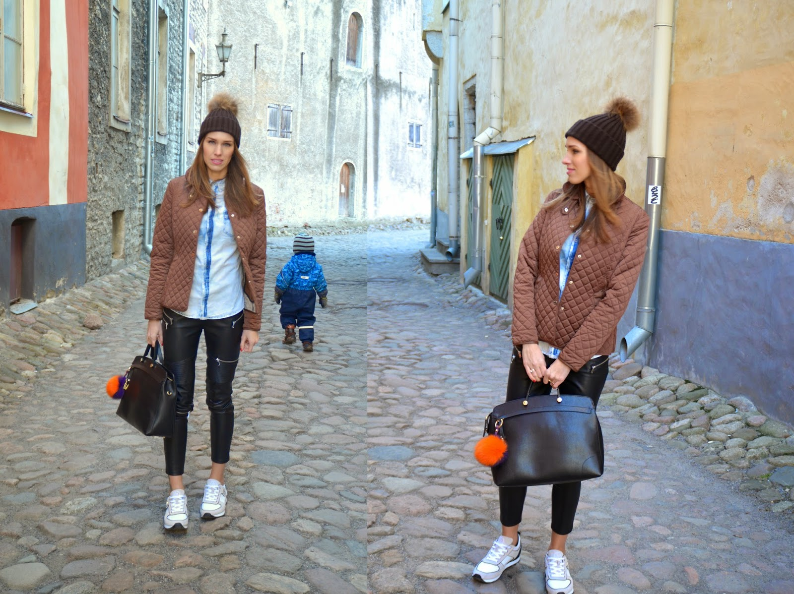massimo-dutti-quilted-jacket-zara-leather-pants-furla-bag-armani-sneakers