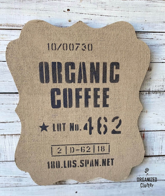 Photo of burlap organic coffee sign