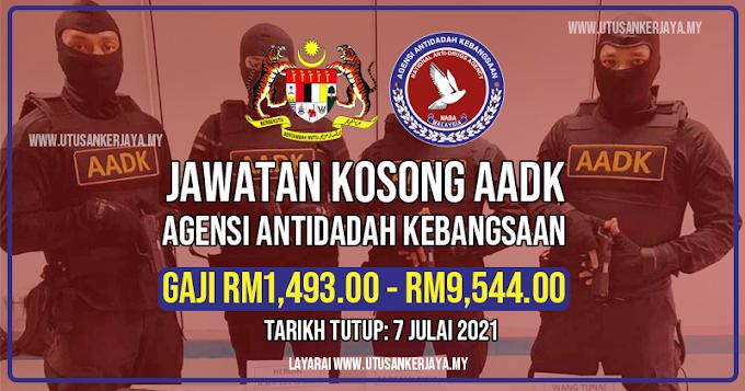 Jawatan Kosong Agensi Antidadah Kebangsaan (AADK). Gaji RM1,493.00 - RM9,544.00