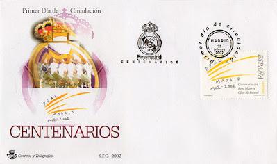 filatelia, matasellos, sello, sobre, Real Madrid, fútbol, centenario