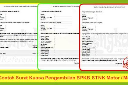 3 Contoh Surat Kuasa Pengambilan BPKB STNK Motor / Mobil