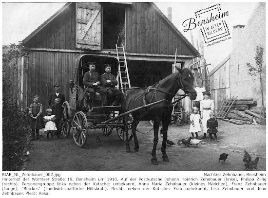 Wormser Straße 19 um 1910 - Die Bensheimer Postkutsche besetzt mit Johann Heinrich Zehnbauer und Philipp Zillig; Nachlass Johann Heinrich Zehnbauer