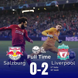 The Reds progress to the next round of the Uefa Champions League after a comfortable 0-2 win against Salzburg to finish top of Group E with goals from Naby Keita and Muhammad Salah as Napoli finish second with a 4-0 win against Genk.