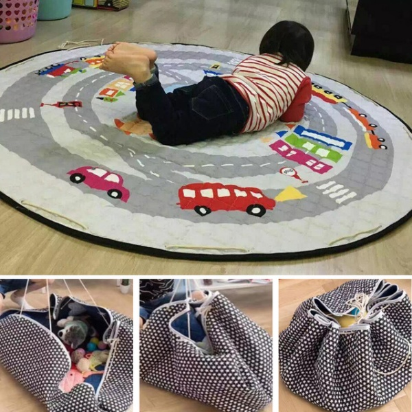Baby Crawling Blanket Mat/Rug/Carpet For Children Soft Cartoon Toys Organizer Round