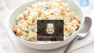 Potato salad with peas and carrots