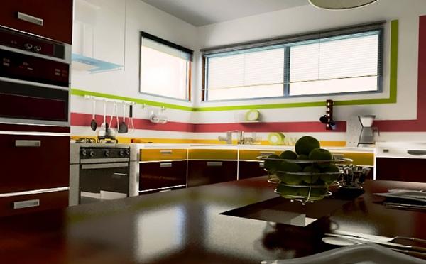 Dapur minimalis bergaris tegas