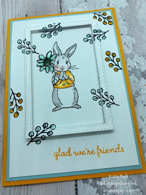 Card for International Friendship day using the Fable Friend stamp set and Glad we're friends for the Inspire Create Challenge #49