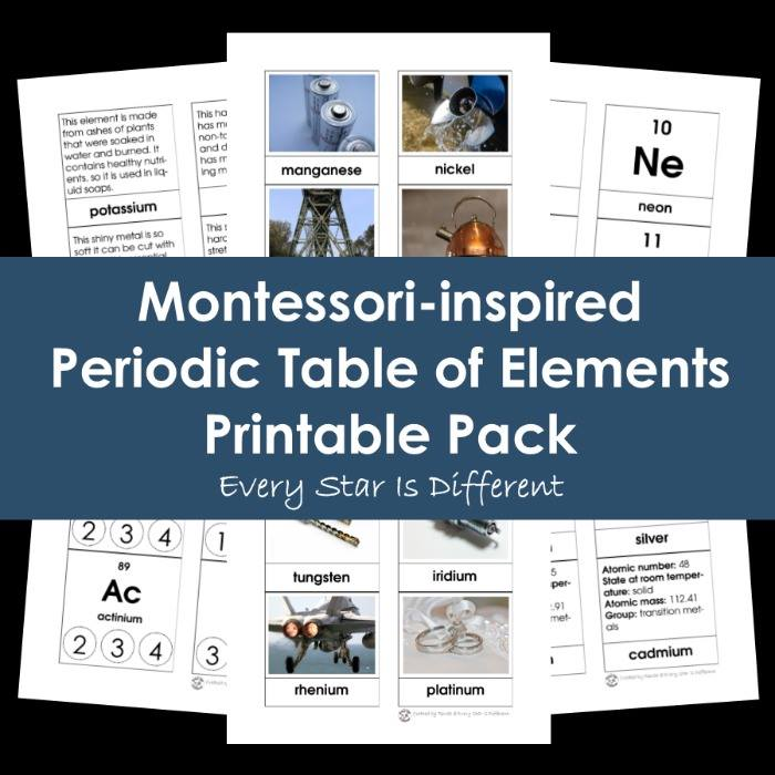 Montessori-inspired Periodic Table of Elements Printable Pack