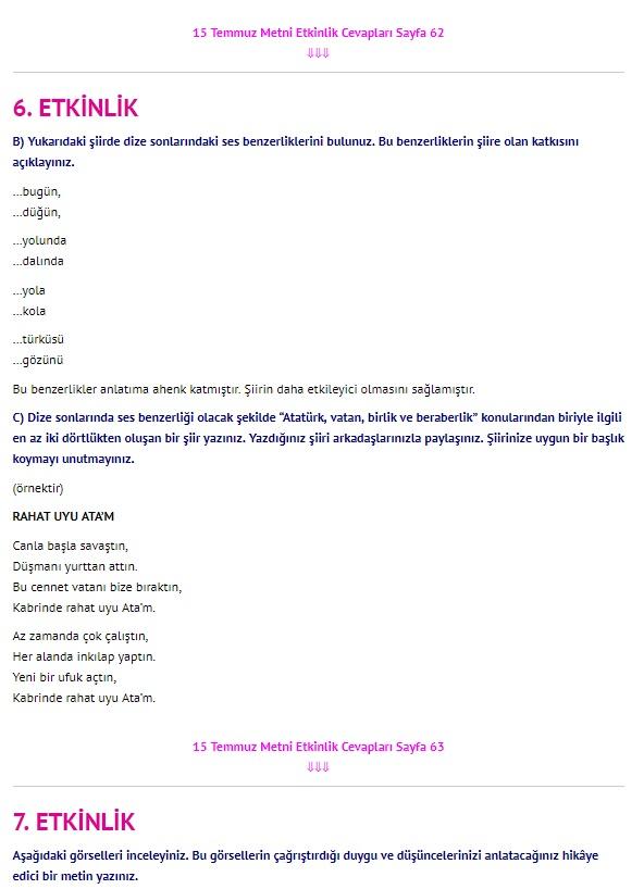 15 Temmuz Metni Cevapları sayfa 62 63