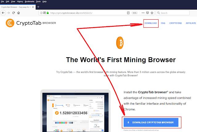 Tampilan website Cryptotab