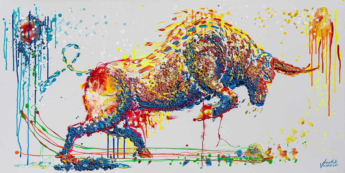 bull painting, bull acrylic, bull unique texture,animal dot painting,  thick layers bull, abstract bull, bull voznarski, mixed bull, bull on canvas, bull pop art, bull wall art, beautiful bull , red bull