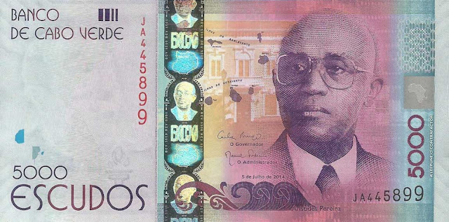 Currency of Cape Verde 5000 Escudos banknote 2014 Aristides Pereira, 1st President of Cape Verde