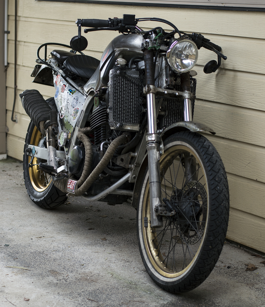 Now Called Bender The Tracker Whatever Thing That Was Once A Transalp Side Bag Japstyle Removed Old Brown Off Back Pillion Pad And Pegs Fitted