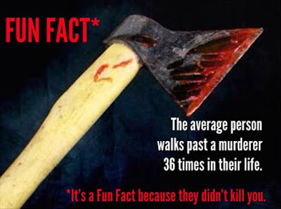 Fun Fact - The average person walks past a murderer 36 times in their life.