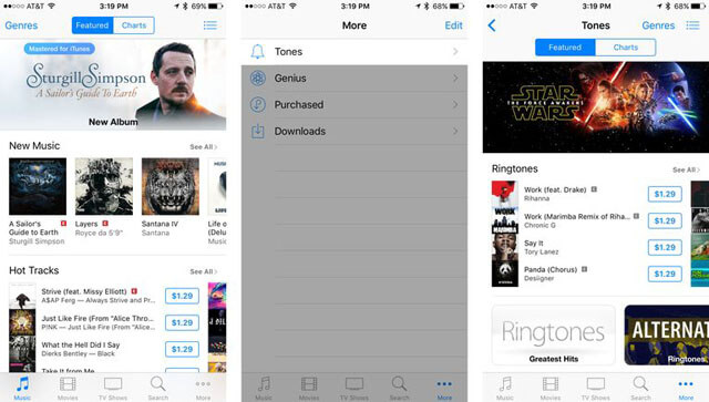 Membeli nada dering pada iPhone, langkah 2