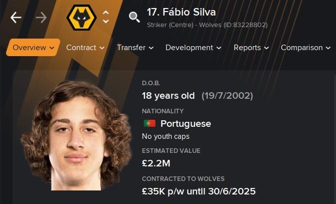 Favio Silva FM21 Football Manager 2021 Wonderkid Wolves
