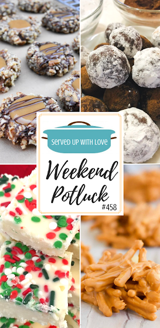 Weekend Potluck featured recipes - Turtle Cookies, 2 Ingredient White Fudge, No-Bake Bourbon Balls, Butterscotch Haystacks and more.
