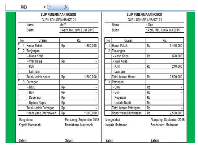 Unduh File Guru Aplikasi Cetak Slip Pembayaran Honor Guru SD/MI dengan Excel