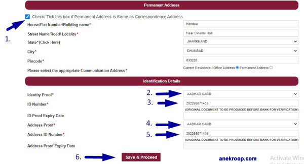 pnb address filling form