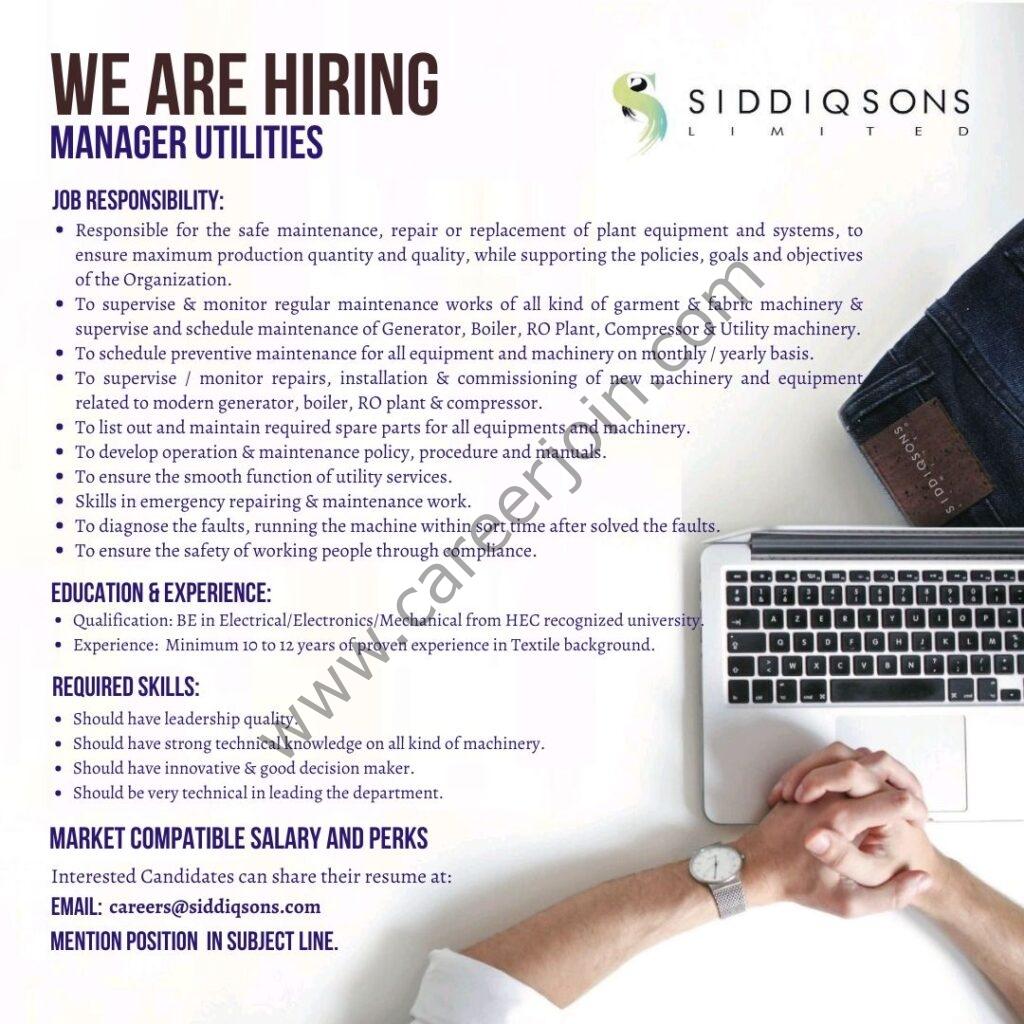 Siddiqsons Ltd Jobs Manager Utilities