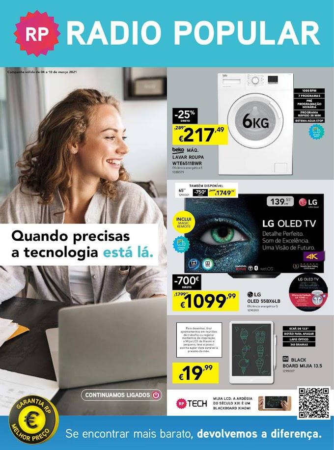 """Folheto Rádio Popular """"Quando precisas a tecnologia está lá."""" - de 4 a 10 de março"""