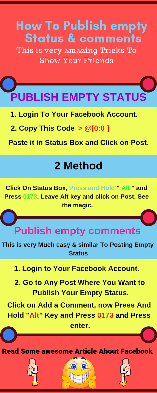 Lets Learn How To Publish empty Status & comments