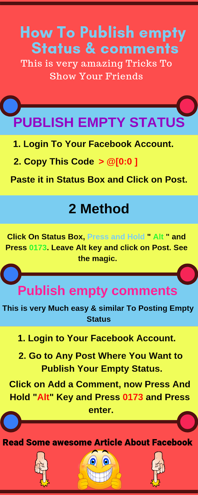 How To Publish empty Status & comments