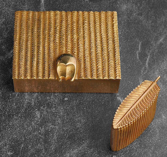 1946 metal boxes by Line Vautrin, one looks like a feather