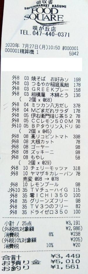カスミ フードスクエア咲が丘店 2020/7/27 のレシート