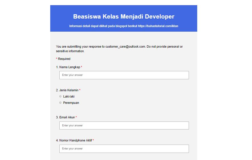 Cara Membuat Formulir Pengisian Data Di Blog