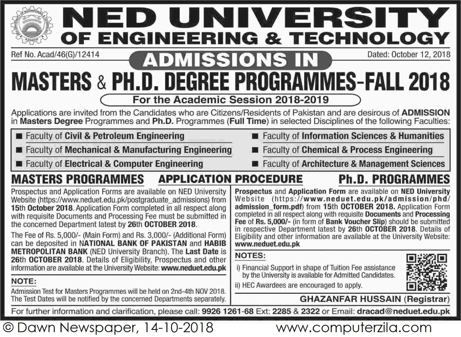 Admissions Open For Fall 2018 At NEDUET Karachi Campus