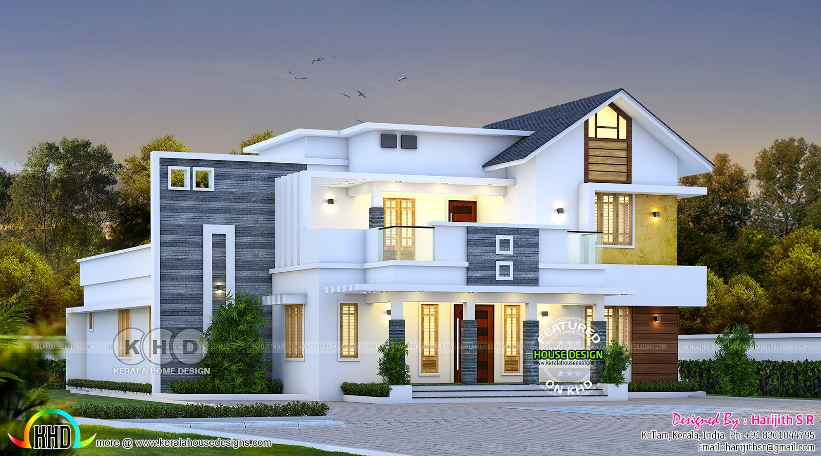 Mixed Roof Contemporary House Design Kerala Home Design And Floor Plans 8000 Houses